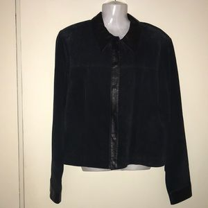 Clothes Revue Suede Jacket with Leather Trim